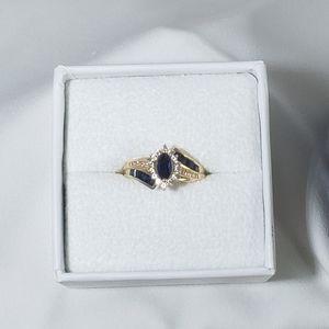 NIB Marquise Sapphire & Diamonds 14k Gold Ring 7